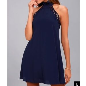 NWT Lulu's Navy Blue Halter Dress